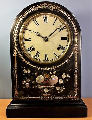Antique French Lacquered and Mother of Pearl Inlaid H&Co Mantel Clock
