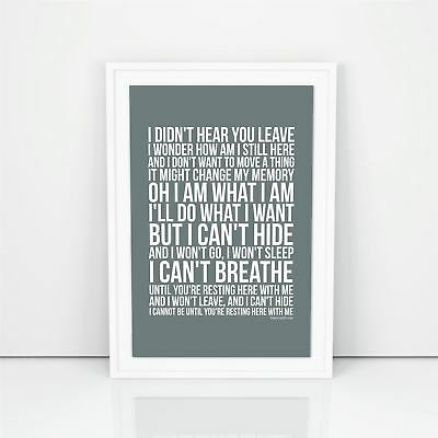 Dido Here With Me Lyrics Poster Print Design A1 A2 Size Song Artwork