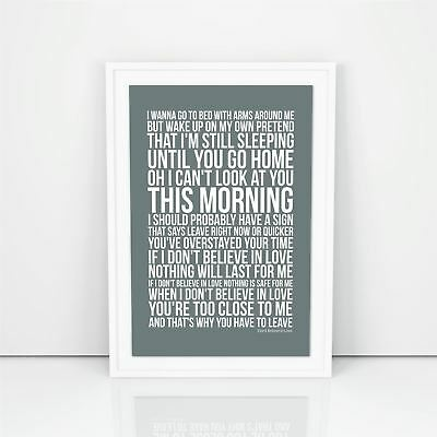 Dido Don't Believe In Love Lyrics Poster Print Design A1 A2 Size Song Artwork