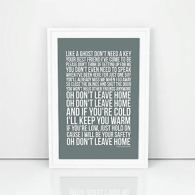Dido Don't Leave Home Lyrics Poster Print Design A1 A2 Size Song Artwork