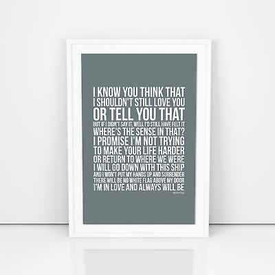 Dido White Flag Lyrics Poster Print Design A1 A2 Size Song Artwork