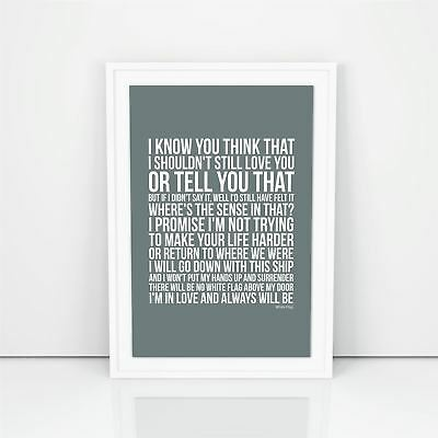 Dido White Flag Lyrics Poster Print Design A3 A4 Size Song Artwork