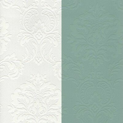 Paintable Damask Wallpaper 32808 white washable classic prepasted
