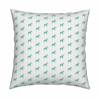 Dala Horse Scandinavian Hobby Throw Pillow Cover w Optional Insert by Roostery