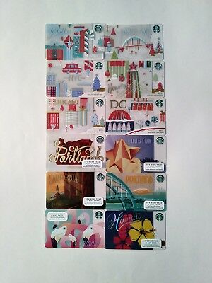 12 Brand New Starbucks STATE & CITY with LIMITED HOLIDAY EDITION Gift Cards