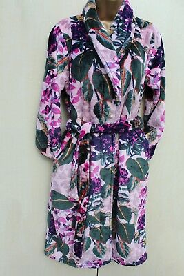 Next Pink Floral Print Super Soft Fleece Dressing Night Gown Robe Small 8-10  UK 821d4b9f6