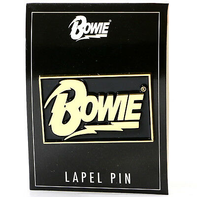 Authentic DAVID BOWIE Rectangle Logo Lapel Pin NEW