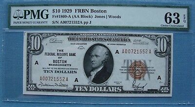 *stunning 1929 $10.00 Federal Reserve Bank Of Boston National 63-Epq Pmg*