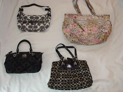 Lot Of 4 Coach Leather/canvas Logo Purses Totes Handbags Shoulder Bags