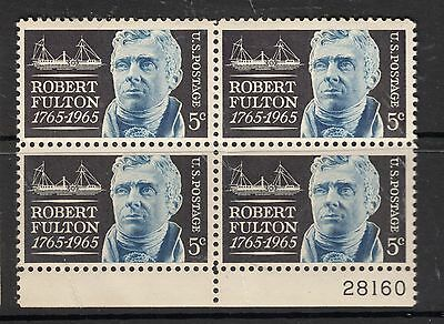 UNITED STATES 5 Fulton Plate Block of 4 2MUH/2MLH Crease