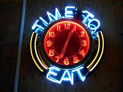 Vintage Neon  Clock Time To Eat Diner Old Bar Resturant Saloon Advertising 26""