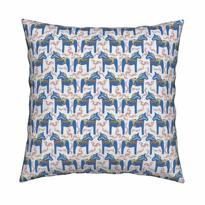 Horse Dala Swedish Folk Throw Pillow Cover w Optional Insert by Roostery