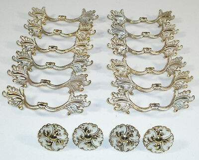 Ajax USA 16 Pc Drawer Pulls Handles, White/Gold, French Provincial, Vintage