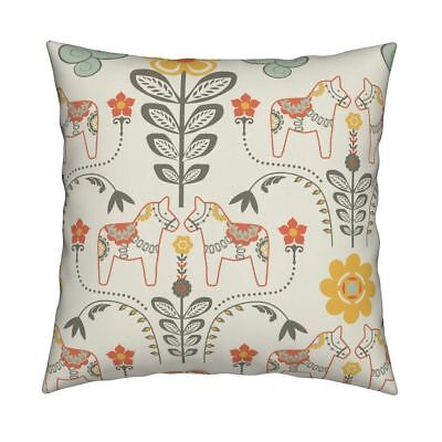 Dala Horse Horse Flower Folk Throw Pillow Cover w Optional Insert by Roostery