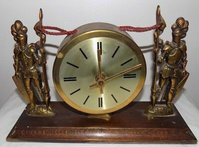 1960s  Mantel Clock Brass Solders On Wooden Stand : Good Working Order