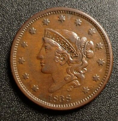1838 Coronet Head Large Cent XF Chocolate Brown! Nice example