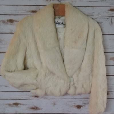 Vintage Wilson's House of Suede White Rabbit Fur Jacket SM