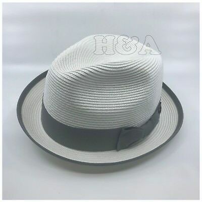 Men's Classy Travel Crushable 2tone Derby Fedora Upturn Curl Brim Hat White