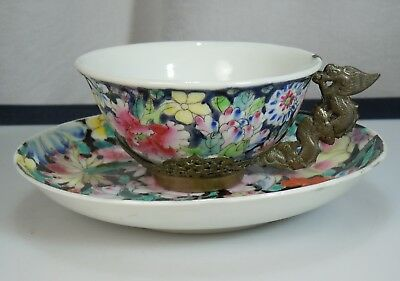 Chinese Porcelain Millefleur 1000 Flower Cup & Saucer - Dragon Handle   51139