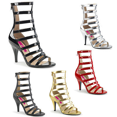 8a38499ab63998 PINK LABEL By Pleaser - Dream 438 Strappy Ankle Boot RED BLACK GOLD SILVER