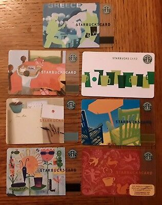 7 STARBUCKS special cards Old Logo Greece Bugs Valentines Dear Mom Green Cups et