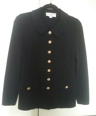 St John Collection By Marie Gray Knit Black Gold Front Buttons Jacket Size 4