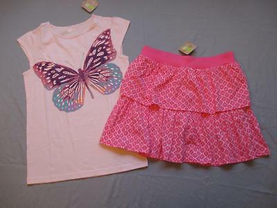 NWT Crazy 8 girls XL 14 butterfly gem tee top geo tiered skort skirt outfit new