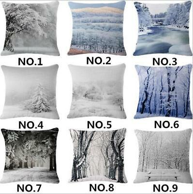 Winter Throw Pillow Case Christmas Snow Forest Square Cushion Cover 18 Inches