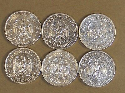 Complete Six Coin Mintmark Set 1935 Church Silver Coins w/Two Swastikas Polished
