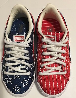 Puma Basket Classic 4th Of July Sneakers Kids Shoes USA Flag Colorways Size 12c