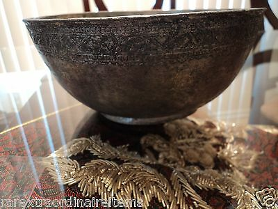 Rare Antique Persian Tinned Copper Ceremony Bowl Safavid Style Hand Engraved