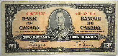 1937 Bank Of Canada $2 ~ Nice Vf Priced Right!