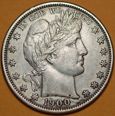 1900 Barber Half Dollar, Cleaned or Whizzed, XF AU, Lots of detail