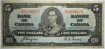 1937 Bank Of Canada $5 ~ Vf Priced Right! (Inv#675)
