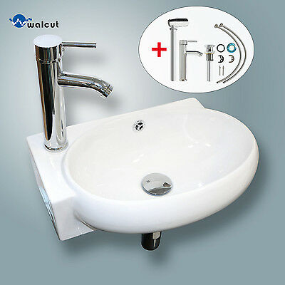 Bathroom Vessel Wall Mount Sink Ceramic Corner Basin w/ Faucet No Need Bracket
