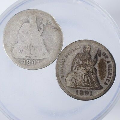 1891 P, S Seated Liberty Dime AG/Good Lot of 2 Coins, 1891-P has rim bruise