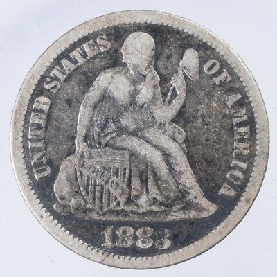 1883 Seated Liberty Dime Fine light porosity, scratches