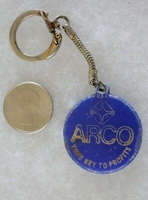 Arco Gas Oil Station Your Key To Profits Vintage Blue Keychain Key Ring #21926