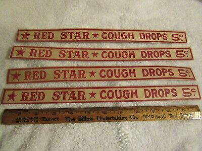 Four Vintage Red Star Cough Drops Advertising Strips 13 inches long