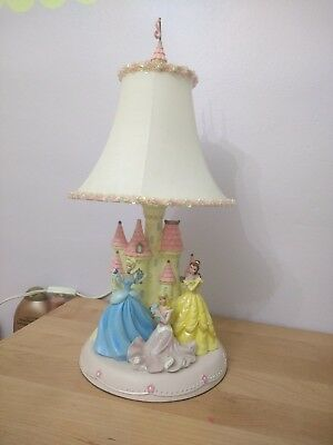 Disney princess lamp shade arial snow white little mermaid rare disney princess table lamps w beaded shade euc set of two mozeypictures Images