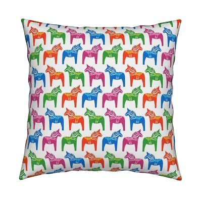 Dala Horse Animal Swedish Toy Throw Pillow Cover w Optional Insert by Roostery