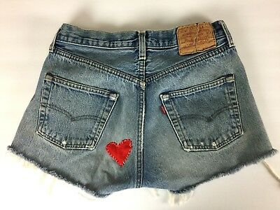"""Vtg 1980s 80s Levis 501 Button Fly Jean Shorts Cut Off Distressed Heart 28"""" M"""