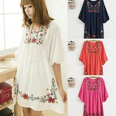 Women Ethnic Mexican Floral Boho Peasant Dress Lady Materity Pregnant Maxi Dress