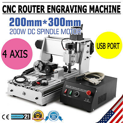 Usb Cnc Router Engraver Engraving Cutter 4 Axis 3020T Woodworking Cutting Tool