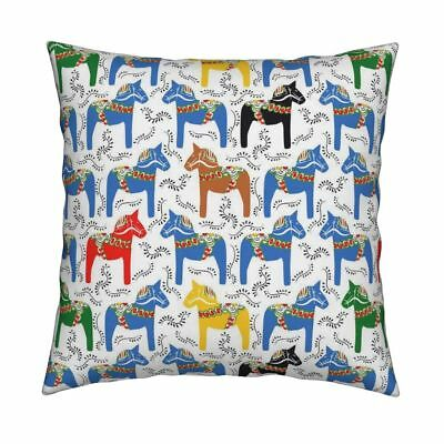 Horse Pony Equestrian Dala Throw Pillow Cover w Optional Insert by Roostery