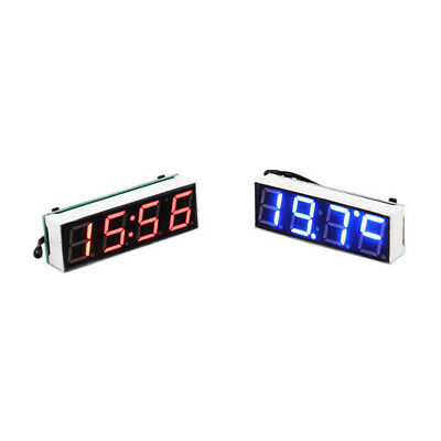 LED Digital Probe Thermometer Car Vehicle Voltmeter Time Clock Panel 3 in 1