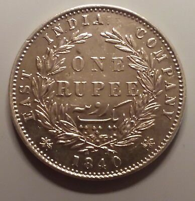 1840 East India Company Victoria A UNC. Silver Rupee Type II -divided legend