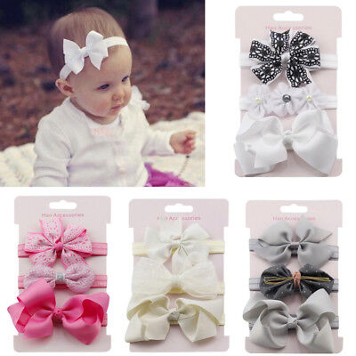 3Pcs/lot Baby Hair Band Baby Hair Ribbon Headband Toddler Girl Kids Bow Hairband