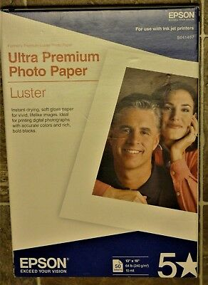 """EPSON 13""""x19""""ULTRA PREMIUM PHOTO PAPER LUSTER - S041407 - NEW SEALED  50 Ct."""