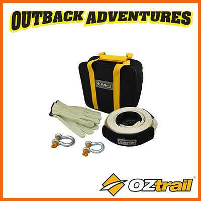 OZtrail 4WD 4 PIECE RECOVERY KIT 8000kg SNATCH STRAP BOW SHACKLES GLOVES BAG TOW